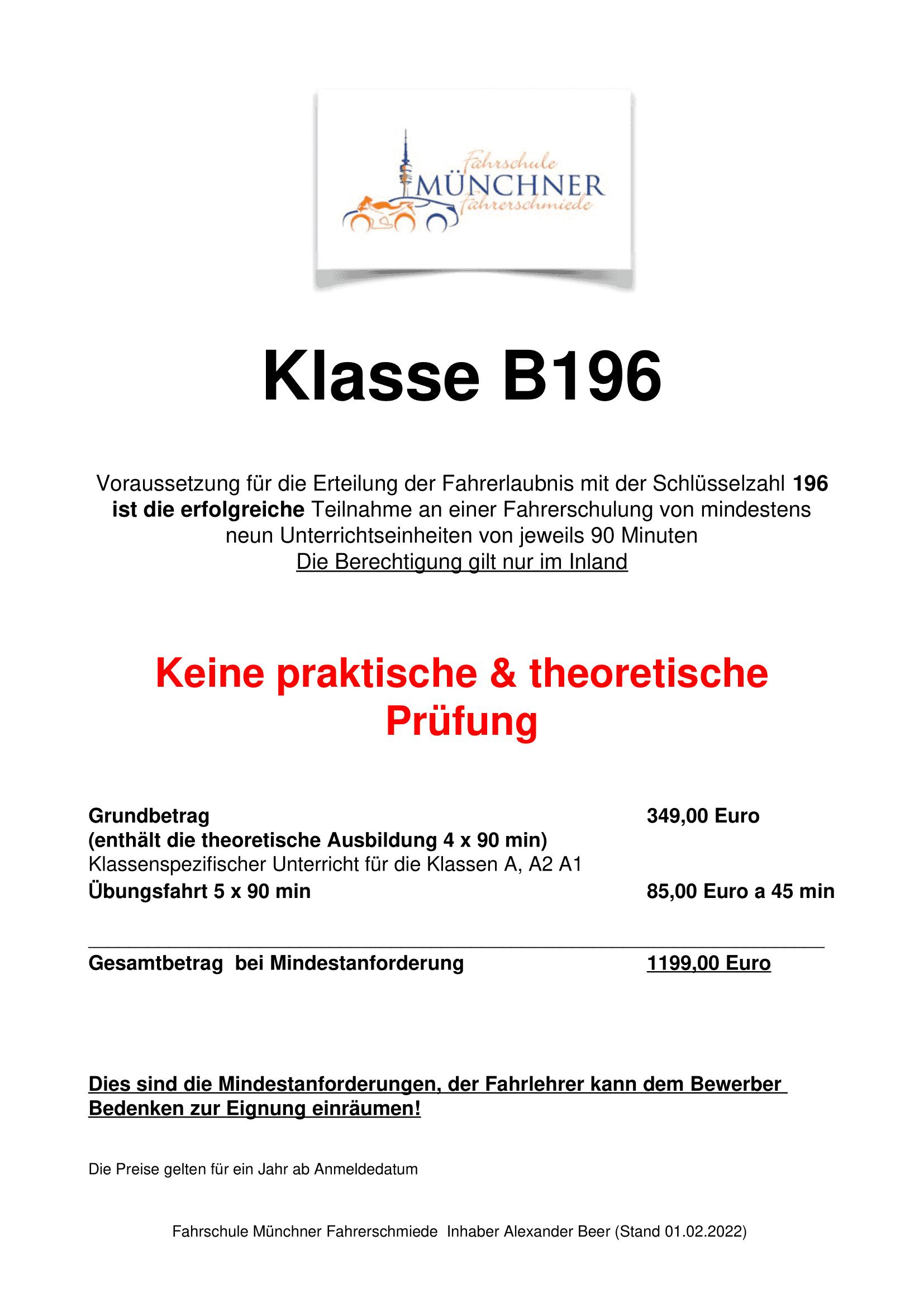 B-196 Preise